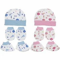Baby girls bonnet and mittens