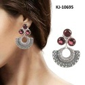 Kaizer Jewelry Engagement And Casual German Silver Blue Stone Fancy Earrings