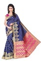 Vatsla Enterprise Blue Heavy Banarasi Silk Saree, With Blouse Piece