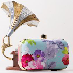 Printed Flower Clutch