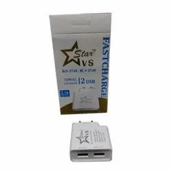 White Star 2 USB Travel Charger Adapter, Packaging Type: Box
