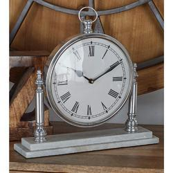Silver Pocket Watch Style Table Clock