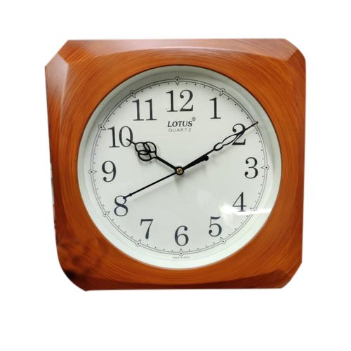 Lotus Quartz Brown Analog Wood Wall Clock For Home Size 330 X