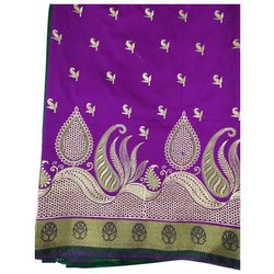 Embroidered Party Wear Ladies Purple Silk Satan Anchal Saree, With blouse piece, 6.5 m