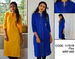 Plain Flex Kurti with Pin-Tuk