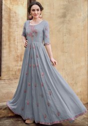 Dove Grey Embroidered Rayon Gown