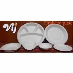 Vij White Biodegradable Plates