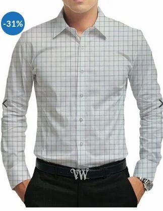 0b223f490fb White Base With Grey Checks Raymond White Cotton Black Check Shirt Fabric