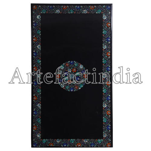 Rectangular Black Marble Dining Table Top Marble Tabletop स गमरमर क बन म ज क ऊपर क ह स स Mk Handicrafts Agra Id 20395801148