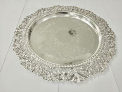Round Cutwork Serving Silver Plate