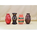 Blue And Red Glass Decorative Flower Vase
