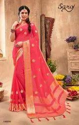 Fancy Designer Party Wear Silk Chiffon Saree