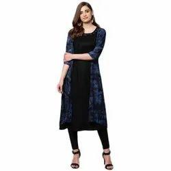 Blue And Black Rayon Designer Ladies Kurti With Legging