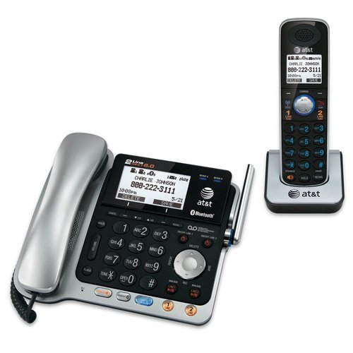 ed2ae715cf8 AT T TL86109 DECT 6.0 2-Line Expandable Corded Cordless Phon ...