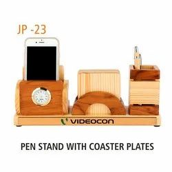 Brown Pen Stand Wooden Desktop Holders, For Promotional Gifts, Packaging Type: Box