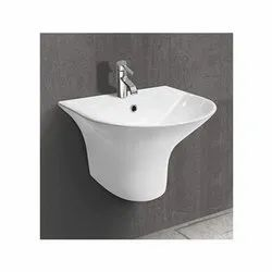 Wall Mounted White Cylis One Piece Basin, For Bathroom