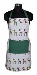 Multicolor Printed Christmas Cotton Apron, Size: 65 X 70 cm