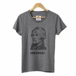 Grey Cotton Ladies Half Sleeves Printed T Shirt, Size: L