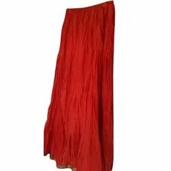 Red Cotton Long Skirts