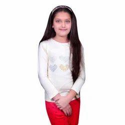 Regular Wear Wood Apple Girls Cotton White Top