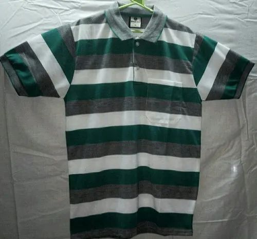f2deaa326fa767 Green And Grey And White Stripes Semi Synthetic Polo T Shirt