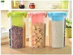 Plain Transparent 3 Section Plastic Food Storage Dispenser, Capacity: 800 Gm