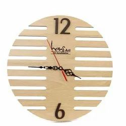 Hans Art Brown Round Carved Wooden Wall Clock, For Home, Size: 12x12 Inch