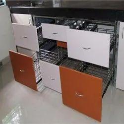 Wooden, Stainless Steel Melamine Stainless Steel Kitchen Cabinets, Capacity: 10-20kg