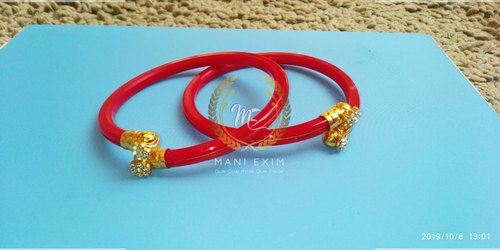 Casual Wear Red Round Fancy Plastic Bangles