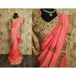 Pink Party Wear Georgette Border Sarees, 6 m (with blouse piece)