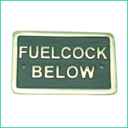 Nameplate Fuel Cock Below (Brass)