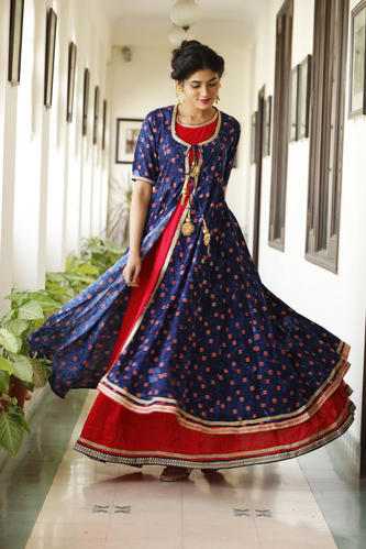 04836dae91 Ladies Double Layer Blue And Red Party Wear Long Kurti, Rs 1925 ...