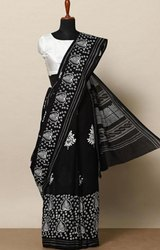 Bagru Print Black and White Cotton Saree