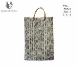 Linen Carry Bag, Large - Off-White Waves Print, Jute Rope Handles