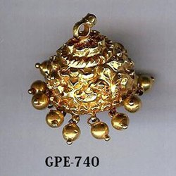 Real Gold Carving Jhumka Earring