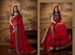 Chiffon Saree With Raw Silk Blouse