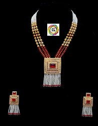 CL Jewellery Matt Finish Polki Crystal Fashion Jewellery Necklace Traditional Jewellery Necklace Set