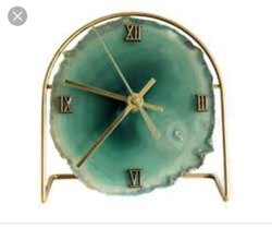 Analog Natural Agate Table Clock