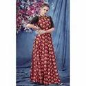 Large And Xl Red Printed Long Anarkali Kurti