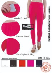 Cotton Churidar Leggings with Pocket, Size: L-3XL