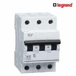 50 Hz Legrand RX3 32A Triple Pole MCB, Breaking Capacity: 10 K