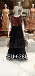 Embellished Anmazing Factory Black & Red Designer Gown