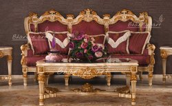 ANTIQUE GOLD Bhartiye Art Wooden Carving Sofa Itailian Design 090SF, For Home