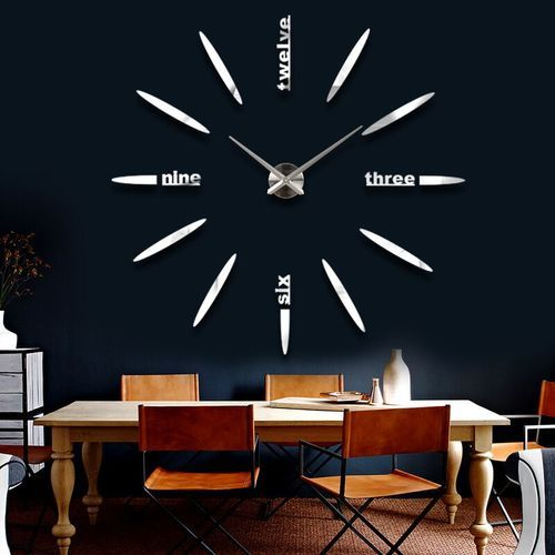 Modern Frameless Large Wall Clock Style Watches Hours Diy
