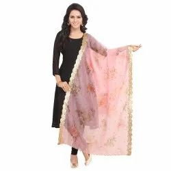 Fabric and Lace Digital print with Embroidery Border Organza Fabric Dupatta