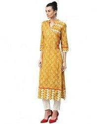 Women Mustard Abstract Straight Cotton Kurta
