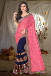 Lycra Pallu Embroidered Designer Pink And Blue Color Saree