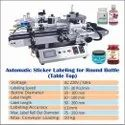 Automatic Table Top Sticker Labeling For Round Sanitizer Bottles