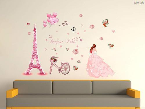 multicolor multiple decor kafe iuhan bonjour paris wall sticker