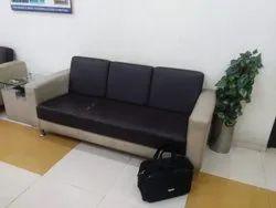 Modern Black Wooden 3 Seater Sofa, Living Room, 6 Inch